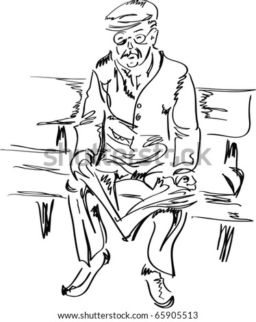 Old man reading a newspaper, sketch vector