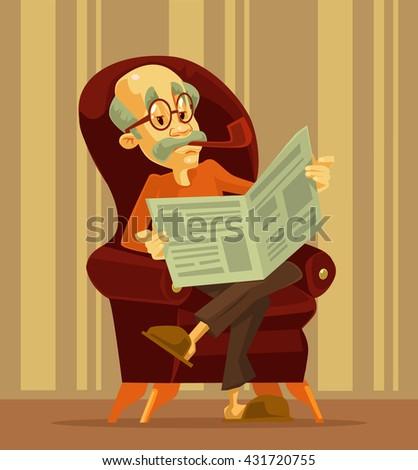 old man reading newspaper