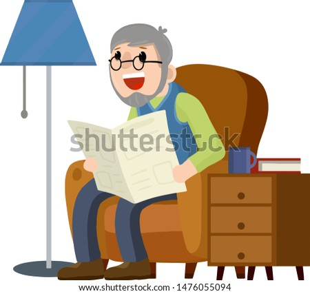 Old man sits in a brown chair and reads a newspaper. rest and relax of grandfather with news. Lifestyle of senior. Furniture - armchair, bedside table with Cup, floor lamp. Cartoon flat illustration