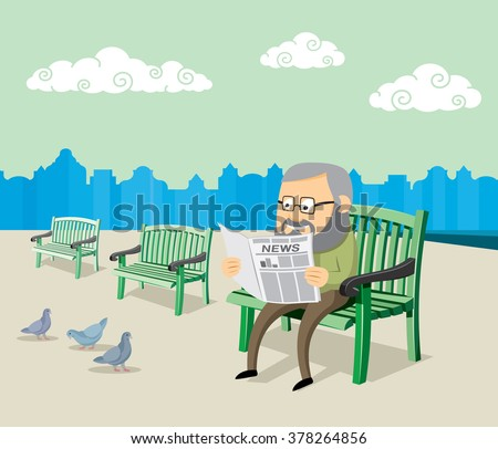 old man sitting on a bench and