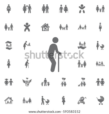 old man vector icon on white background. Set of family icons