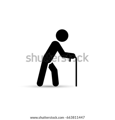 Old man vector icon, simple silhouette isolated illustration.