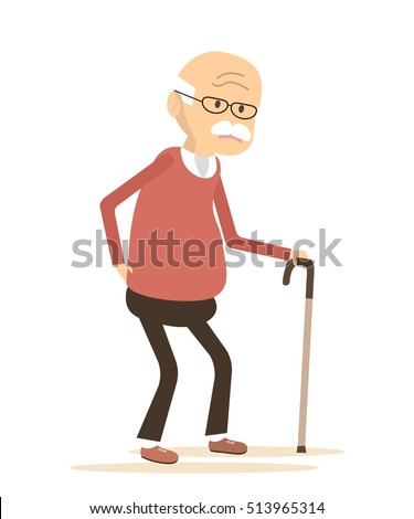 Old man with a cane.  An elderly man suffering from back pain.  Senior man sick. Senior disease. Backache icon. Vector illustration flat design
