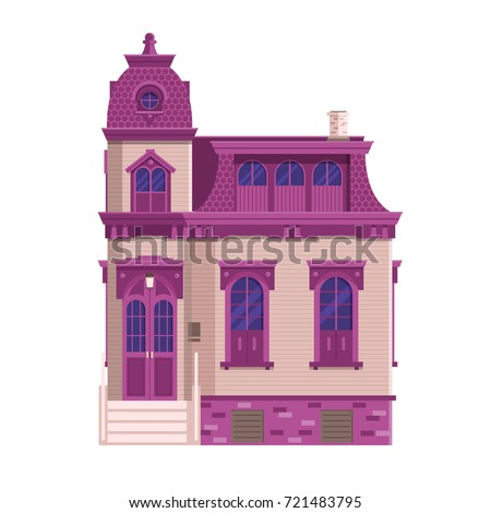 Old mansion building isolated on white background. Classic victorian house or colonial style home with front porch. English manor vector illustration in flat design.