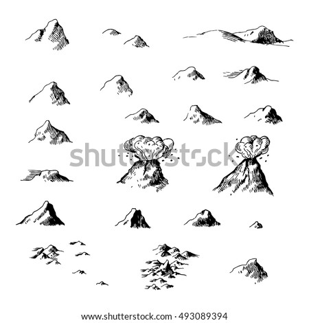 old map ink mountains set