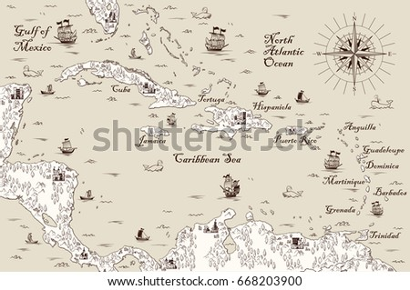 old map of the caribbean sea