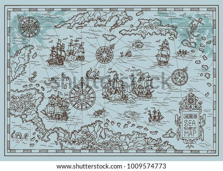 Old map of the Caribbean Sea with pirate ships, treasure islands, fantasy creatures. Pirate adventures, treasure hunt and old transportation concept. Hand drawn vector illustration, vintage background #1009574773