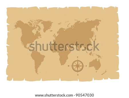 old map over old paper with compass rose vector illustration