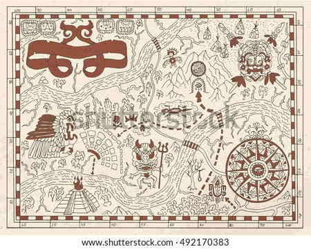 old maya or pirate map on