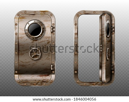 old metal door with porthole