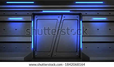 Old metal sliding doors with glowing neon lamps in spaceship, submarine or laboratory. Vector realistic interior of empty hallway in space ship with scratched closed gate. Steel doors in spacecraft