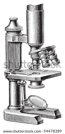 Old microscope / vintage illustrations from Meyers Konversations-Lexikon 1897