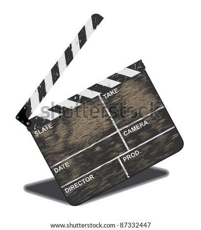Old movie clapper, often in use. Vector illustration