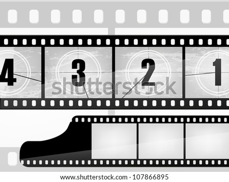 old movie countdown, film - stock vector