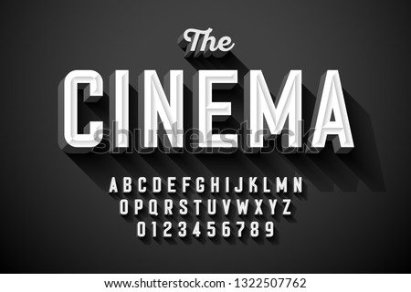 Old movie title vintage font design, retro style alphabet letters and numbers vector illustration