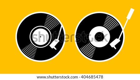 Old music long play record - flat symbol. Vinyl turn table icon app. Black gramophone web sign - simple silhouette graphic design. vector art image illustration, isolated on yellow background eps10