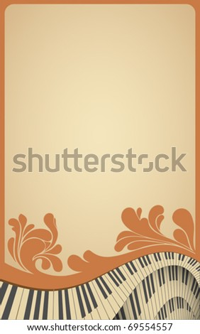 old musical frame with piano keyboard and flourish vintage