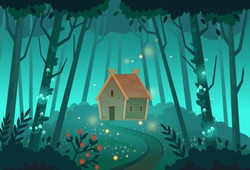 Old mystic witch hut in the forest. Cartoon vector illustration.