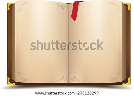Old open magic book. Vector cartoon illustration