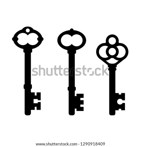 Old ornate key icon vector illustration isolated on white background