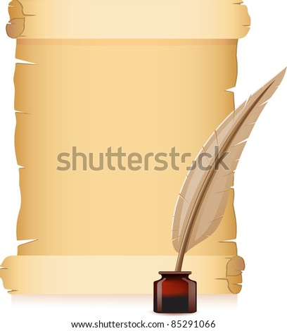 old paper and feather with inks vector illustration