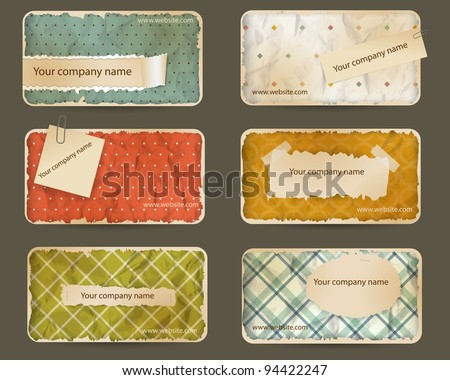 Old paper business card set