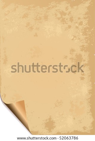 Old paper grunge background with curled corner