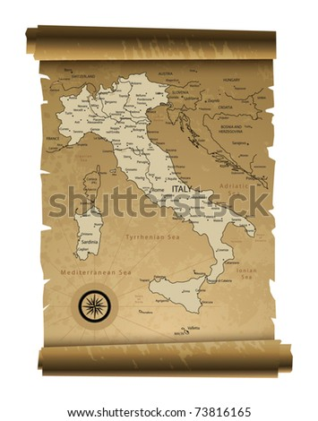 Old paper Italy map, vector illustration