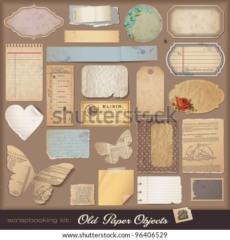 Old Paper Objects (2) - variety of scraps for your layouts or scrapbooking projects - stock vector