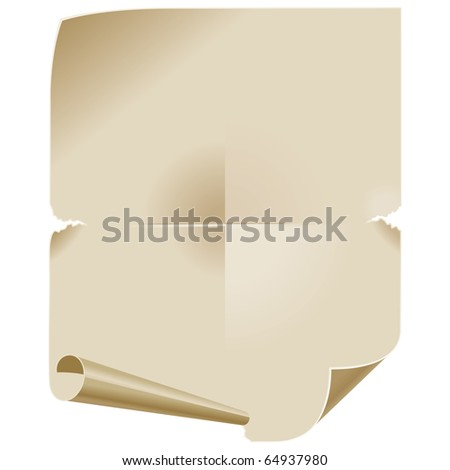 Old Paper Scroll. Background for Text Messages. Vector Illustration - stock vector