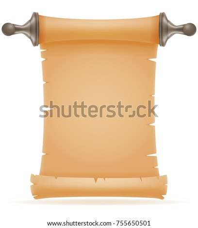 old paper scroll vector illustration isolated on white background