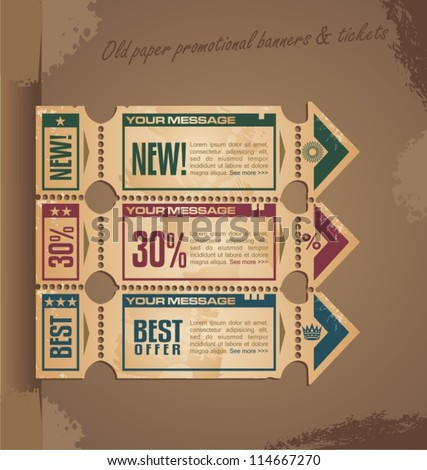 Old paper vintage banner design with tickets and coupons