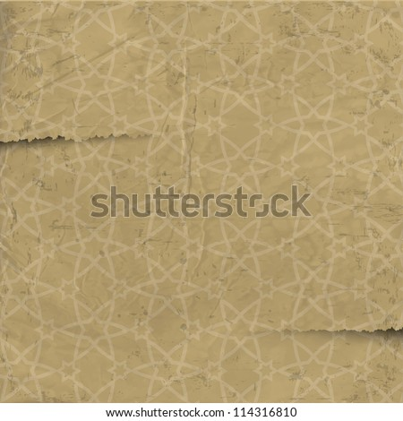 Old paper with arabic pattern. Vector texture