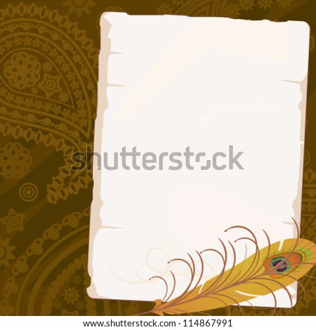 Old paper with feather of peacock - stock vector