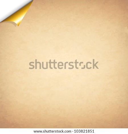 Old Paper With Gold Corner, Vector Illustration