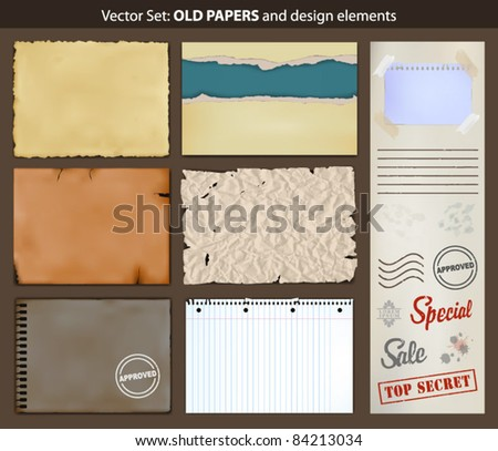 Old papers. Vector set of ripped old paper and design elements.
