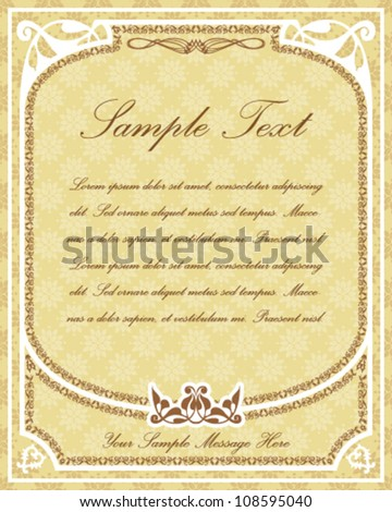 Old parchment design for certificates, invitations, menus etc. with ornamental frame and decor elements and place for Your custom text
