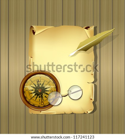 Old Parchment with Glasses and Compass