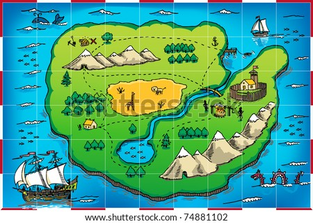Pirate Map Symbols http://www.shutterstock.com/pic-74881102/stock-vector-old-parchment-with-pirate-map.html