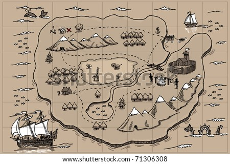 Pirate Map Symbols http://www.shutterstock.com/pic-71306308/stock-vector-old-parchment-with-pirate-map-doodle.html