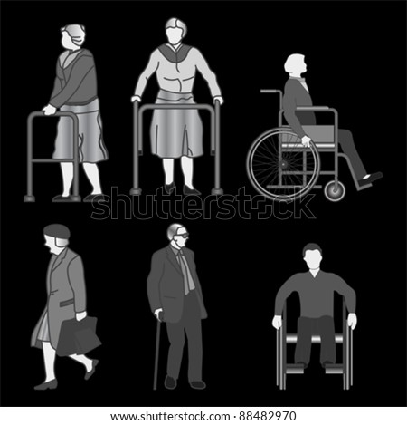 old people and disabled persons , vector