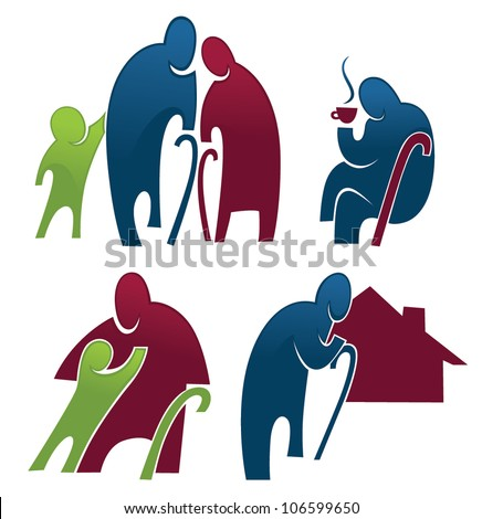 old people and retirement collection of images and symbols