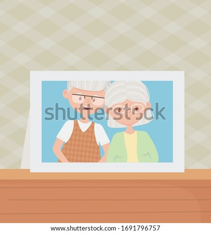old people. cute couple grandparents photo frame in table vector illustration