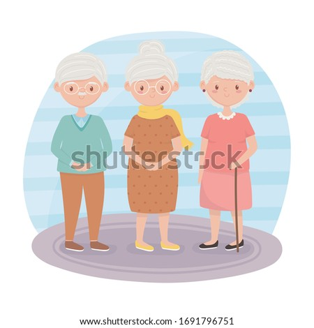 old people, grandmothers and grandpa together cartoon characters vector illustration