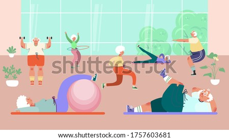 Old people group doing exercises in gym, vector illustration. Healthy activity for senior man woman character, sport and fitness workout. Exercises with ball, dumbbells, hula hoops and rug.
