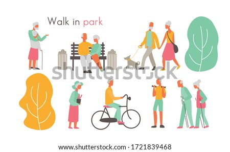old people in park vector