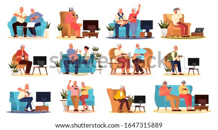 Old people playing video games set. Seniors adults playing video games with console controller and VR device. Elderly character have a modern lifestyle. Isolated vector illustration in cartoon style