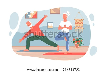 Old people practice yoga sport exercises at home vector illustration. Cartoon cute funny active elderly couple characters, grandmother and grandfather training, healthy yoga activity isolated on white Photo stock ©