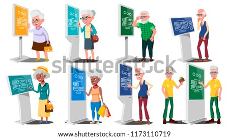 Old People Using ATM, Digital Terminal Vector. Man, Woman. Set. LCD Digital Signage For Indoor Using. Interactive Informational Kiosk. Money Deposit, Withdrawal. Isolated Flat Cartoon Illustration