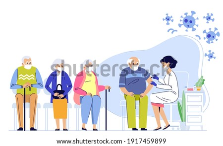 Old people vaccination concept for immunity health. Covid-19. Doctor makes an injection of flu vaccine to senior man in hospital.  Aged patients are waiting in line. Healthcare, coronavirus